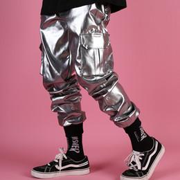 Argentina M-XXXL 2019 nuevos hombres sueltos Silver hip hop personalidad bolsillo bolsillo pies pantalones cantante masculino DJ harem pantalones trajes cheap xxxl animal costume Suministro