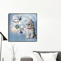 contemporâneo flores pinturas Desconto 5d diamante pintura ponto cruz diy diamante bordado bonito do gato flor imagem home decor crianças presentes sem quadro de pintura