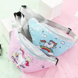 2019 bolsa de mensajero brillo Unicornio Bolso de cintura Lentejuelas Glitter Purse Zip Bolsa de mensajero Bolsa de deporte al aire libre Mermaid Sequin Bolsas de hombro C5899 rebajas bolsa de mensajero brillo
