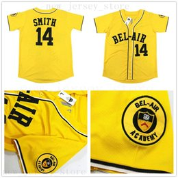 fresh shirts Coupons - Cheap Mens The Fresh Prince of Bel-Air Academy #14 Will Smith Baseball Jerseys Yellow Wholesale Stitched Smith Baseball Jersey Shirt