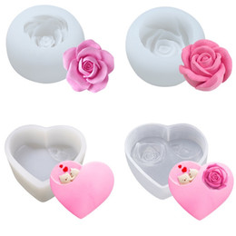 handmade cake flowers Coupons - Flower silicone mold rose chocolate mousse cake mould ice ball heart shape handmade soap candle making tool