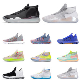 kd basketball sneakers Coupons - Hot Sale KD 10 12 Men Basketball Athletic shoes Wolf Grey UNIVERSITY RED EYBL 90S KID BLACK WHITE Trainers Sports Sneaker Size7-12