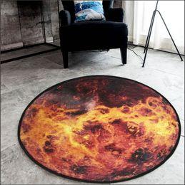 Nordic trend round suede carpet living room bedroom mat Planet earth moon rug bath fashion 60 80 100 120 150cm