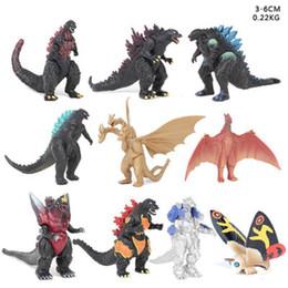 2019 juguetes dinosaurios 10 PC / sistema 3-6cm Godzilla Figuras de acción monstruos dinosaurio de segunda generación figuras de PVC 3-6cm niños juguete niños juguetes dinosaurios baratos