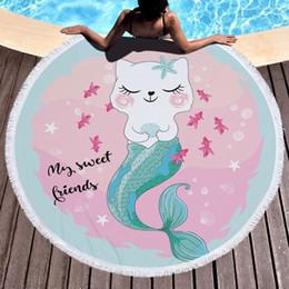 Rosa Grande Microfibra Sirena Principessa Rotonda Spiaggia Asciugamano Adulto Bambine Donne Coda Coperta Serviette De Plage Toalla Microfibra da