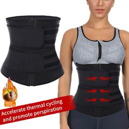 corsés de nylon Rebajas Entrenador de cintura para mujer Sauna Cinturón de sudor Cremallera Body Shaper Corsé Faja Banda delgada