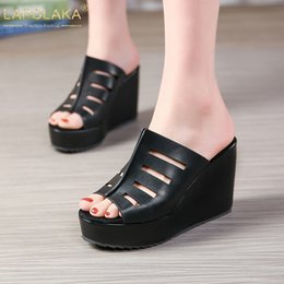 6b7a291c LAPOLAKA Nuevo tamaño grande 32-45 Plataformas Maduras Zapatillas Verano  Peep Toe Tacones Altos Diapositivas Mujeres Cuñas Zapatos mujer