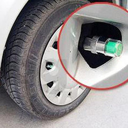 valve cap pressure Coupons - Hot Sale 4Pcs Chromed Metal 36 PSI Tire Pressure Indicator Valve Stem Caps 3 Color Eye Wheel Air Press Alert Car Alarm Systems