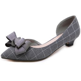 Talons à carreaux en Ligne-NAVIGUANT LU Nouveau Low Thin Talons Femmes Shallow D'orsay Pompes Slip On Floral Checkered Toe Toe Chaussures Casual XWD7613