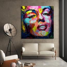marilyn monroe retrato pintura Rebajas Virginia. Francoise cuchillo Nielly Marilyn Monroe paleta de alta calidad hechos a mano del retrato abstracto pintura al óleo del arte en lona Arte de la pared del Ministerio del Interior De