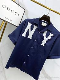 Mujeres seda online-19ss Primavera Nuevo diseño de marca de lujo Seda NY bordado Camiseta Hombres Mujeres Moda transpirable Streetwear Sudaderas Camisetas al aire libre