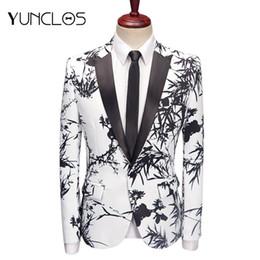 2019 bambusjacke YUNCLOS 2019 Bambus Gedruckt Herren Blazer Hochzeit Anzug Jacken Slim Fit Schal Kragen Blazer Jacken masculino rabatt bambusjacke