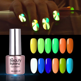 2019 lucido gel verde scuro Beautybigbang Noctilucent Vernis Ongle Glow In Dark Polish Fluorescent Neon Nail Polish Colore verde Nail art Poly Gel lucido gel verde scuro economici
