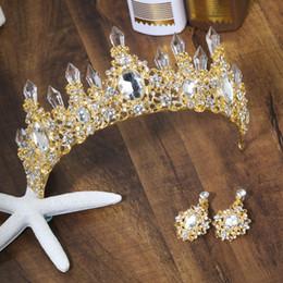 accessori per capelli d'argento d'epoca Sconti Strass Blue Crown Headband Vintage Crystal Diademi da sposa Accessori da sposa Partito Foglie Gioielli Argento bordo per capelli CPA3166