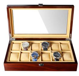 relógios suíços Desconto Caixas de Armazenamento de madeira Relógio De Madeira Do Vintage Retro 12 Grade 8 Relógios de Rede Organizador de Exibição Caso Da Jóia Da Janela de Acrílico
