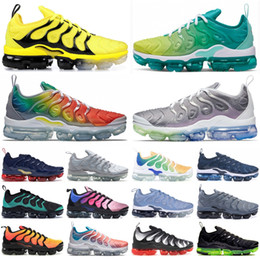Lejía de pvc online-GAME ROYAL RACER BLUE Plus Tn Running Shoes Hombre Bumblebee Be True Rainbow USA Grape Bleached Aqua Mujer Diseñador Zapatos Zapatillas 36-45