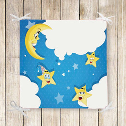 Silla azul cielo online-Else Blue Sky White Cloud Yellow Star 3D Print Silla Almohadilla Asiento Cojín Suave memoria Espuma Completa Corbatas Antideslizantes Lavable Cuadrado