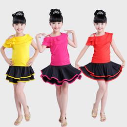 samba röcke Rabatt 2019 Spandex Mädchen Latein Kleider für Tanzen-Ballsaal-Tanz-Kleid Rumba Samba Kinder Samba cha cha Tango Rock Standard Salsa