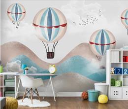 Décor de salle de montgolfière en Ligne-Carton Hot Air Balloon Enfants Chambre Murale Wallper Contact Papier Papel De Parede Enfants Chambre 3d Photo Papier Peint Décoration Murale