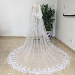 2019 catedral estilo casamento véus vestido de noiva 2 camadas catedral 3 metros de comprimento rendas véu de renda com pente de cor branco marfim