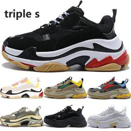 2020 zapatos de color amarillo para los hombres Lujo de la manera s triples crecientes zapatillas de deporte de los hombres de las mujeres de color beige negro gris para hombre blanco rojo verde amarillo ourdoor zapatos de diseño US5.5-11 rebajas zapatos de color amarillo para los hombres