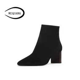 coole high heels winterstiefel Rabatt WEIQIAONA 2018 Winter Neue Frauen Schuhe In Schaffell Reißverschluss High Heels Boot Coole Mädchen Schuhe Party Kleid