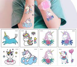 Conto de fadas adesivos on-line-25 pcs Dos Desenhos Animados Unicórnio Azul Contos de Fadas Crianças Crianças Tatuagem Temporária À Prova D 'Água Engraçado Flash Party Girl Baby Body Art Cavalo Tatuagem Adesivos