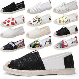 zapatos de lona casuales para mujer Rebajas 2019 Summer Flats Slip On Canvas Shoes Black Retro Vintage Ladies Womens Casual Alpargatas Zapatos para mujer holgazanes perezosos