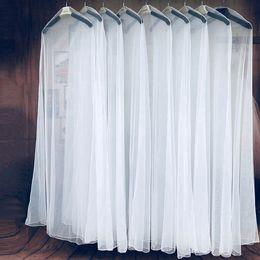 Deckbekleidung transparent online-Lange 180 cm weiß transparent atmungsaktiv tüll staubschutz für kleidungsstück hochzeitskleid abendkleidung schützen fall