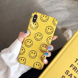 Telefones celulares de cor amarela on-line-Doce sorriso rosto padrão caso de telefone móvel para iphone x xs xr xs max rosa amarelo cor celular caso de telefone