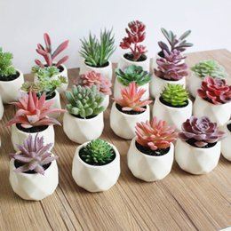 gardening potting table Promo Codes - Artificial Succulent Bonsai Creative Ornaments for Home Table Garden Decoration Artificial Plants with Pot