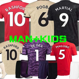 Kit de portero jerseys online-Portero POGBA manchester soccer jersey 2019 2020 RASHFORD MARTIAL uniformes kit de fútbol United UTD jersey 19 20 shirt DE GEA MAN + niños