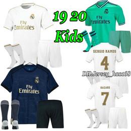 kits de futebol para meninos Desconto 19 20 Real Madrid crianças kits camisa de futebol meninos criança 2019 2020 CASA PERIGO ASENSIO futebol camisas AWAY MODRIC ISCO MARCELO criança kits