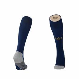Calzini per tubi adulti online-19 20 calzini da calcio Boca Juniors blu al ginocchio calza alta adulto spessa asciugamano fondo tubi lunghi via calzini sportivi bianchi calza da calcio