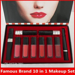 kit beauty Promo Codes - famous Brand beauty Makeup Set 10 in 1 set lipgloss + Matte Lipstick +Mascara +Eyeliner pencil 10 In 1 Kit
