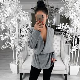 2019 gilet gris Missufe Automne Hiver Femmes Manteau 2019 Casual À Manches Longues Zipper Outwear Femme Cardigan Veste Gris Noir De Base Manteaux Tenues gilet gris pas cher