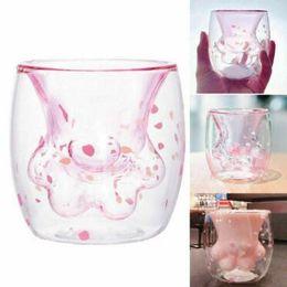 Acqua di zampa online-Cat Paw Cup Party Decorating Supplies Bottiglia di acqua Bicchieri da vino Bambini Latte Tazze Doppio Strato Latte Tè Bevanda Tazza Idratazione Gear CCA11357 12 pz
