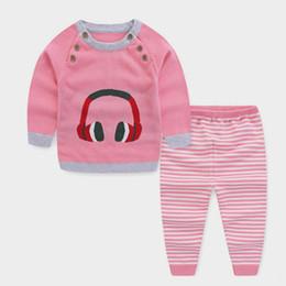 ba795832f Buena calidad para niños pequeños conjuntos de ropa de primavera otoño bebé  niños tejer conjunto suéter ropa de dibujos animados traje recién nacido ...