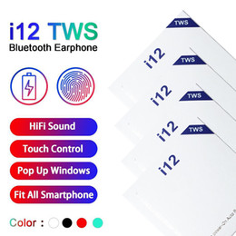 2019 auriculares monoaurales TWS I12 de alta calidad bluetooth 5.0 auriculares bluetooth inalámbricos soportan ventana pop-up auriculares de control táctil colorida 770117-1