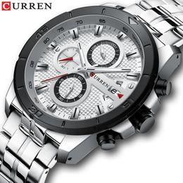 2019 стильные часы CURREN Fashion Designed Stylish and Sleek Business Dress Watch Chronograph  Clocks Silver Band White Dial relojes hombre дешево стильные часы