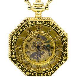 2019 neue weiße gold taschenuhr Neue Mode Handaufzug Mechanische Taschenuhr Kette Vollgold Achteck Form Skeleton Carving Männer Fob Kette Uhren PJX1378