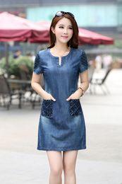 S 5xl 2019 Women Ladies Lace Vintage Denim Dress Loose Short Sleeve Jean Dresses Casual Natural Vestidos Maxi Mom Clothes