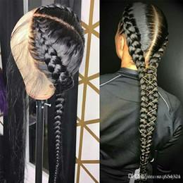 cheveux humains raides pour tresses Promotion Perruques de cheveux humains préplombés Full Lace avec des cheveux de bébé perruque brésilienne tressée sans colle perruques Full Lace pour les femmes Remy