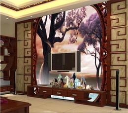 cavallo intagliato in legno Sconti dimensione personalizzata 3d foto carta da parati soggiorno murale Grande albero Cavallo scultura in legno 3d immagine divano TV sfondo carta da parati non tessuto wall sticker