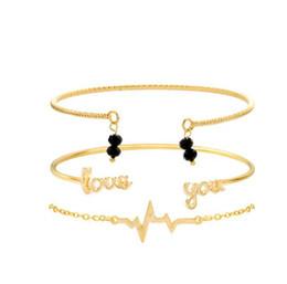 Braccialetti d'argento disegni per le ragazze online-Design semplice Lettera Love Beads Chain Multilayer Cuff Bangle Bracelet Set Charm Girl Jewelry Regalo 3pcs / set Gold Silver