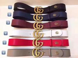 Ceintures pour hommes en Ligne-Ceinture en cuir des hommes classiques en gros conception double lettre ceinture de ceinture de boucle de cuivre, ceinture en cuir de luxe pour hommes et femmes