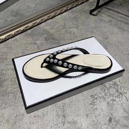 donne di pantofole traspiranti Sconti Pantofola di cuoio genuino delle donne del pantofola di vibrazione che borda Pantofole piatte di cristallo delle donne infradito traspirante di vibrazione con i gioielli