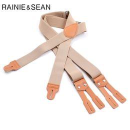 Бежевые подтяжки онлайн-Мужские пуговицы для рубашек на подтяжках от Rainie - Брекеты для мужчин Бежевый ремешок из натуральной кожи 125 см * 3,5 см Подтяжки мужские женские T7190615