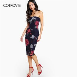 ee7a63c0c6 COLROVIE Navy Floral Print Bandeau Bodycon Midi Party Tube Dress Women 2019  Summer Sleeveless Sheath Elegant Party Dresses