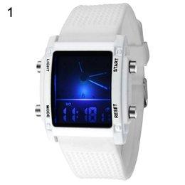 мужские часы Скидка Мужчины квадратный циферблат двойное время день дисплей сигнализации красочные светодиодные спортивные часы электронные наручные часы новый